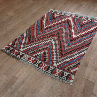 Hand-Woven Cesme Kilim From Turkey