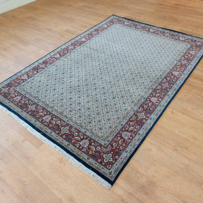 Hand-Knotted Herati Rug From India