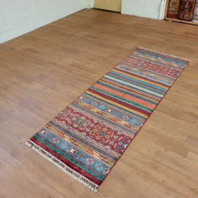 Hand Knotted Kashgari Runner From Afghanistan