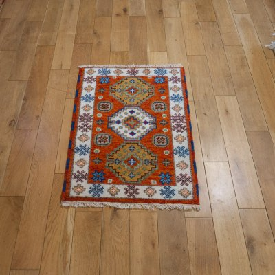 Hand-Knotted Indo Kazak Rug From India