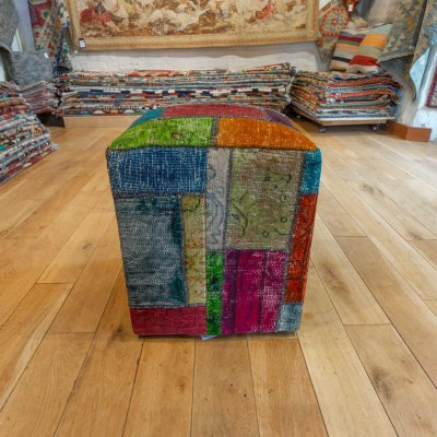 Hand Made Patchwork Kilim Footstool From Afghanistan