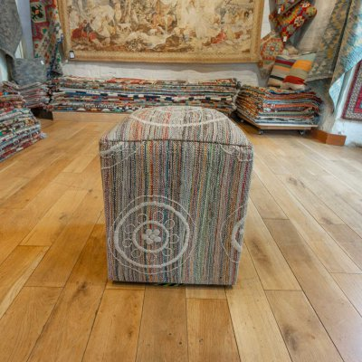 Hand Made Embroidered Kilim Footstool From India