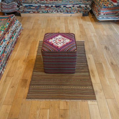 Hand Made Soumak Kilim Footstool From Turkey