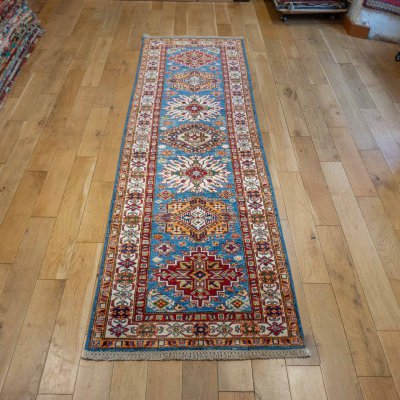 Hand-Knotted Kazak Runner From Afghanistan