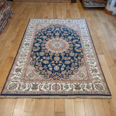 Hand-Knotted Nain Indian Rug From India