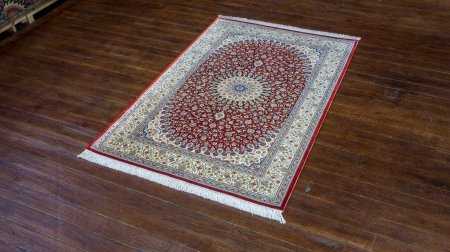 Hand-Knotted Qum Silk Rug From Iran (Persian)