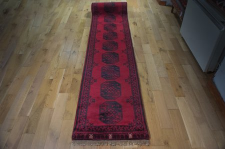 Hand-Knotted Agra Afghan Runner From India