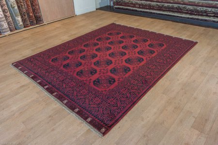 Hand-Knotted Agra Afghan Rug From India