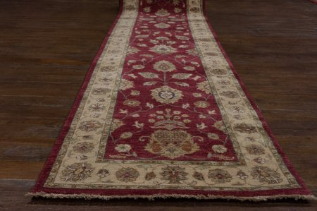 Hand-Knotted Agra Ziegler Runner From India
