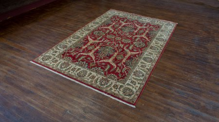 Hand-Knotted Agra Tabriz Rug From India