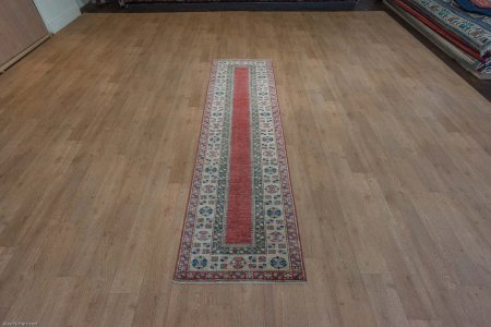 Hand-Knotted Kazak Uzbeki Runner From Pakistan