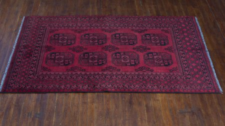 Hand-Knotted Nahzat Rug From Afghanistan