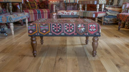 Hand Made Konya Kilim Footstool From Turkey