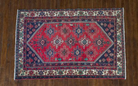 Hand-Knotted Mezlaghan Rug From Iran (Persian)