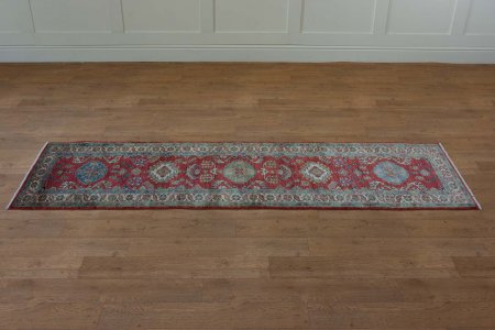 Hand Knotted Kazak Runner From Afghanistan