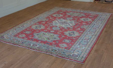 Hand-Knotted Kazak Rug From Afghanistan