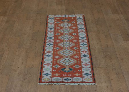 Hand-Knotted Indo Kazak Runner From India