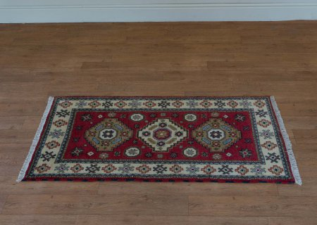 Hand Knotted Indo Kazak Rug From India