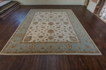 Hand-Knotted Agra Ziegler Rug From India