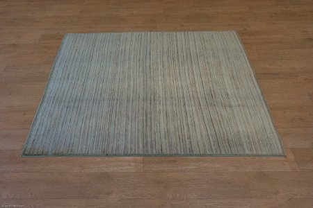 Hand-Knotted Multistripe Rug From India