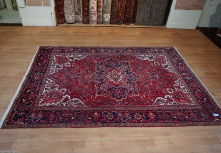 Hand-Knotted Heriz Rug From Iran (Persian)