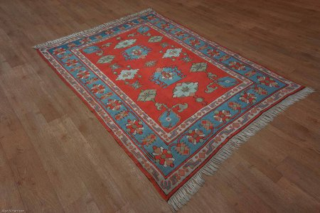 Hand-Knotted Indigo Kars Rug From Turkey
