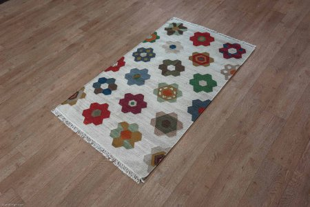 Hand-Woven Ankara Kilim From India