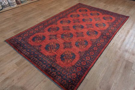 Hand-Knotted Ersari Rug From Pakistan