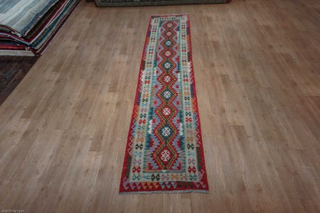 Hand Knotted Mazar Runner From Afghanistan
