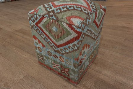 Hand Made Mazar Kilim Footstool From Afghanistan