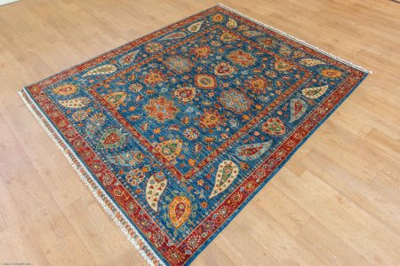 Hand-Knotted Fine Sozani Rug From Afghanistan