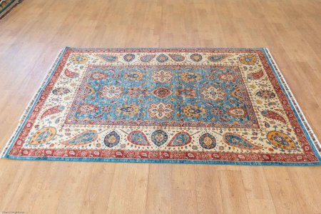 Hand Knotted Fine Sozani Rug From Afghanistan