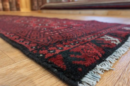 Hand-Knotted Aqcha Runner From Afghanistan