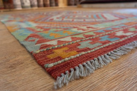 Hand-Knotted Mazar Kilim From Afghanistan