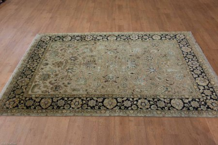 Hand-Knotted Royal Taj Wool & Silk Rug From India