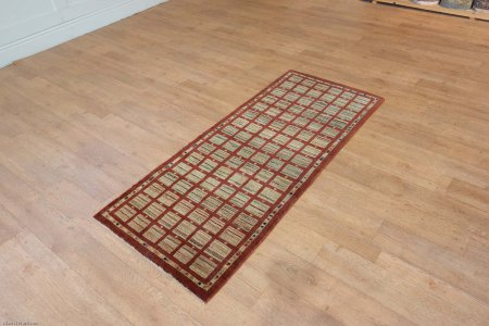 Hand Knotted Modern Afghan Runner From Afghanistan