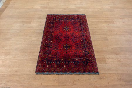 Hand-Knotted Kundoz Rug From Afghanistan