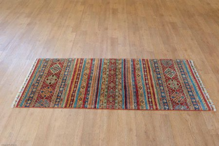 Hand-Knotted Kashgari Runner From Afghanistan