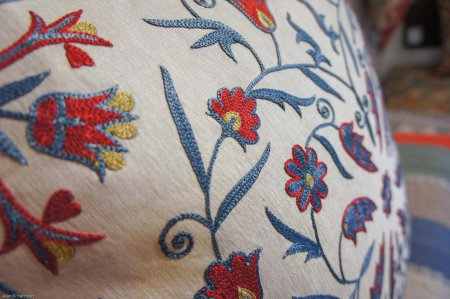 Hand Made Sozani Silk Embroidered Cushion From Turkey