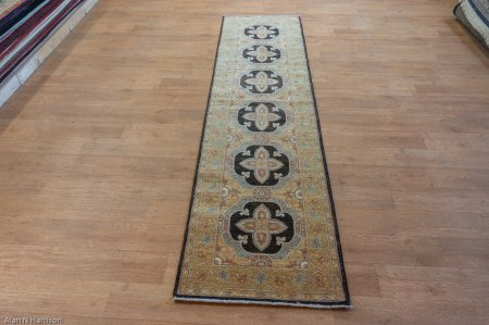 Hand-Knotted Ziegler Runner From Afghanistan