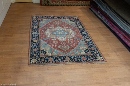 Hand-Knotted Indo Fine Heriz Rug From India
