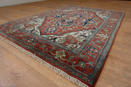 Hand-Knotted Indo Heriz Rug From India
