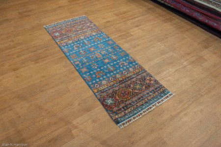 Hand-Knotted Khorjin Runner From Afghanistan