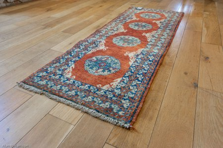 Hand-Knotted Chubi Runner From Afghanistan