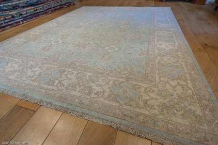 Hand-Knotted Fine Ziegler Rug From Pakistan
