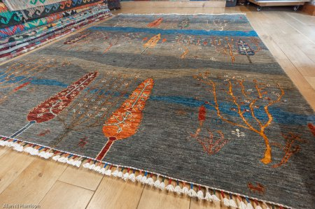 Hand-Knotted Khorjin Rug From Afghanistan