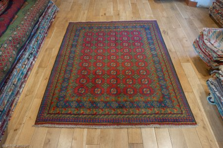 Hand-Knotted Aqcha Rug From Afghanistan