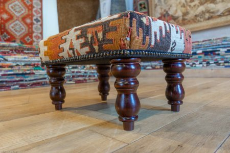 Hand Made Anatolian Kilim Footstool From Turkey