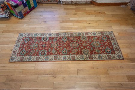Hand-Knotted Fine Serapi Runner From India