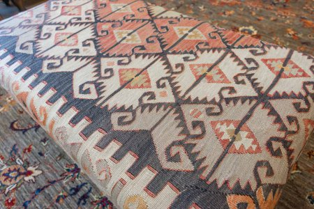 Hand Made Anatolian Kilim Stool From Turkey